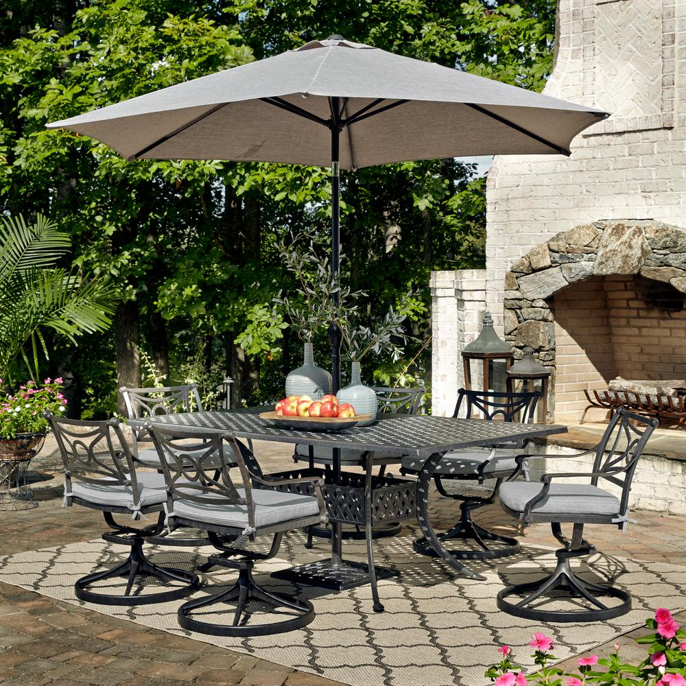 HOMESTYLES La Jolla Gray 7-Piece Aluminum Rectangular Outdoor Dining Set with Gray Cushions and Umbrella and Base
