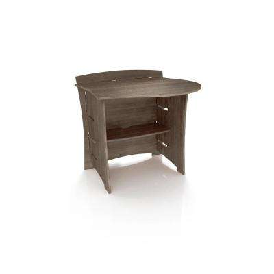 31 in. Peninsula Desk Addition with Solid Wood in Grey Driftwood Color