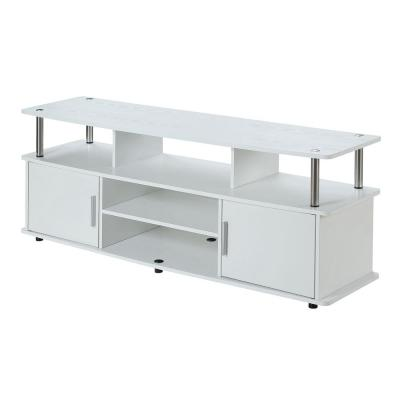 Monterey 59 in. White Composite TV Stand Fits TVs Up to 60 in. with Storage Doors