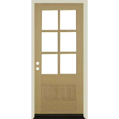 36 in. x 80 in. 3/4 6-Lite with Beveled Glass Unfinished Right Hand Douglas Fir Prehung Front Door