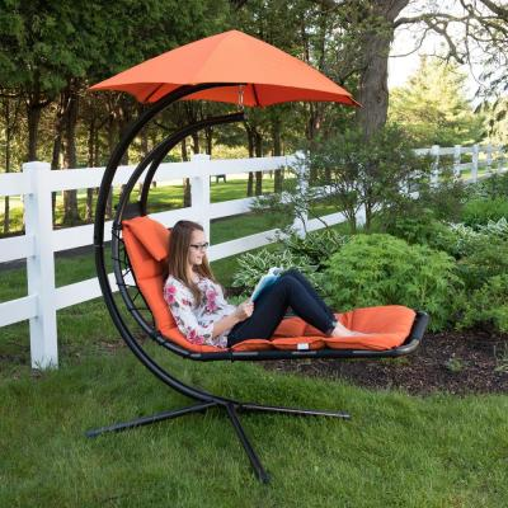Original Dream Single Motion Patio Lounge Chair with Orange Zest Cushion