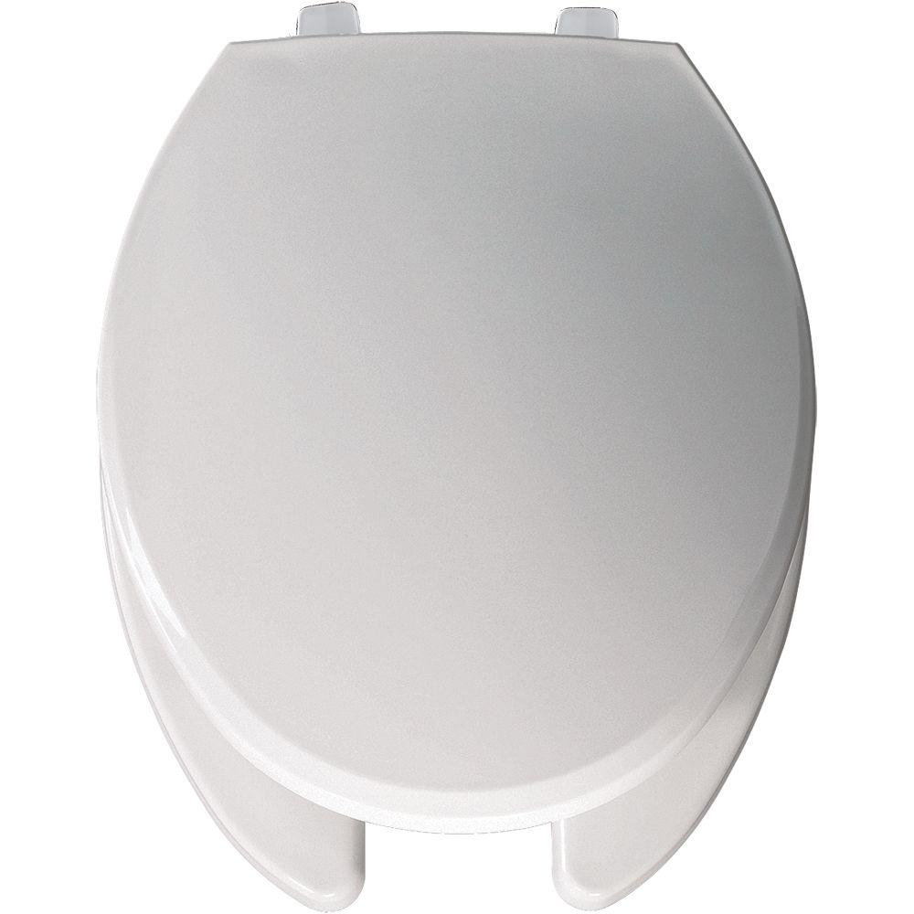 Just-Lift Elongated Open Front Toilet Seat in White