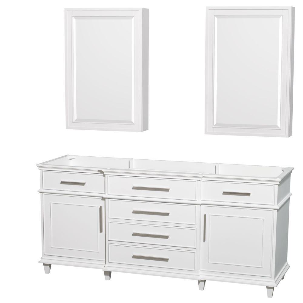Berkeley 72 in. Double Vanity with Medicine Cabinets in White