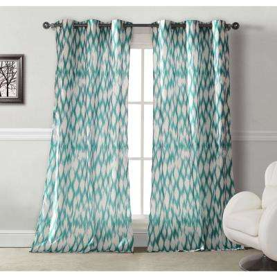 Semi-Opaque Caitlin 84 in. L Microfiber Grommet Panel in Teal (2-Pack)
