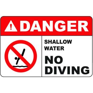 10 inch x 12 inch Plastic Danger No Diving Safety Sign by