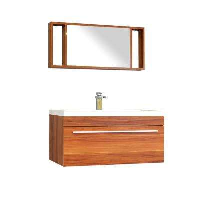 Ripley 35.25 in. W x 18.75 in. D x 17.5 in. H Vanity in Cherry with Acrylic Vanity Top in White with White Basin
