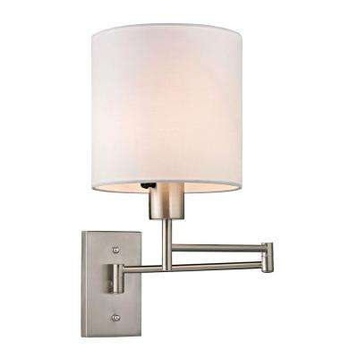 Aspen Collection 1-Light Brushed Nickel LED Swing Arm Sconce