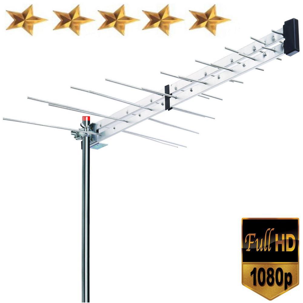 Yagi Roof Top TV Antenna Optimized HDTV Digital Outdoor Directional Aerial VHF UHF FM