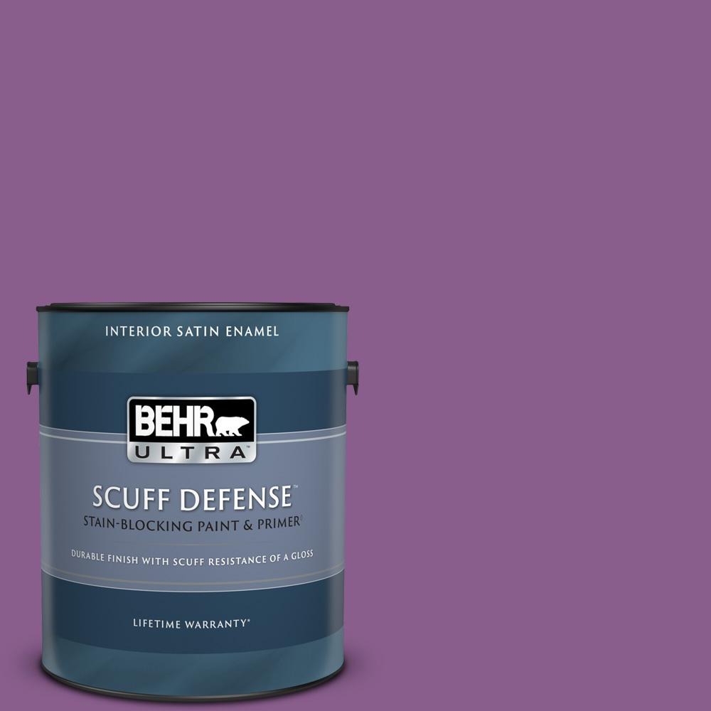 Behr Ultra 1 Gal 670b 7 Candy Violet Extra Durable Satin Enamel Interior Paint Primer 775301 The Home Depot