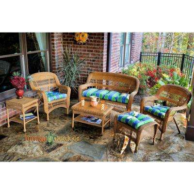 Portside Amber 6-Piece Wicker Patio Seating Set with Haliwell Caribbean Cushions