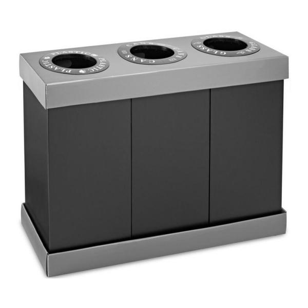 28 Gal. Black Corrugated Plastic 3-Compartment Indoor Trash Can and Recycling Bin