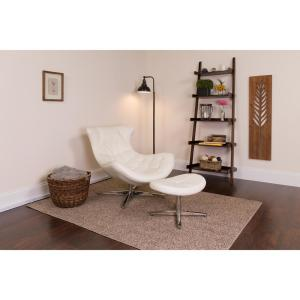 Flash Furniture White Leather Cocoon Chair with Ottoman ...
