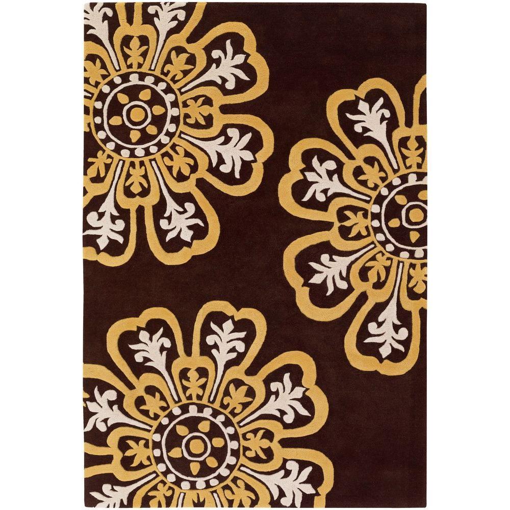 Chandra Seedling Brown/Yellow/Cream 7 ft. 9 in. x 10 ft. 6 in. Indoor Area Rug