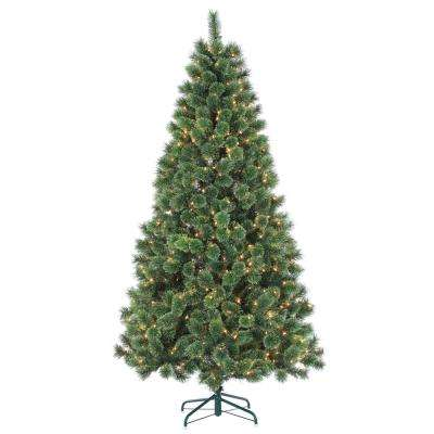7 ft. Pre-Lit Hard Needle Deluxe Cashmere Artificial Christmas Tree with Clear Lights