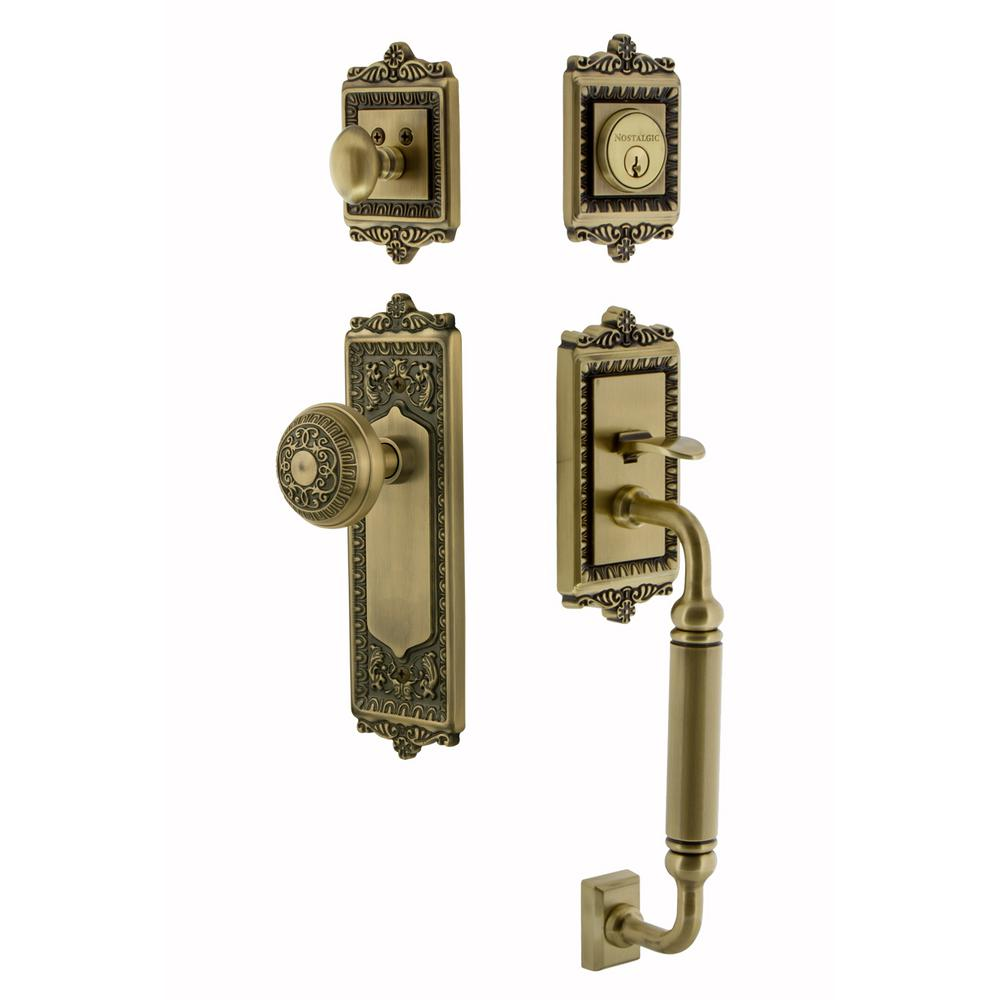 Door Knobs 2 inch backset door knobs pictures : Honeywell 2.5 in. Antique Brass Classic Knob Door Lock Handle Set ...