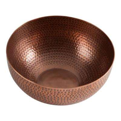 10 in. x 10 in. x 4.5 in. Hammered Copper Serving Bowl