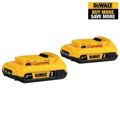 20-Volt MAX Lithium-Ion Compact Battery Pack 2.0Ah (2-Pack)