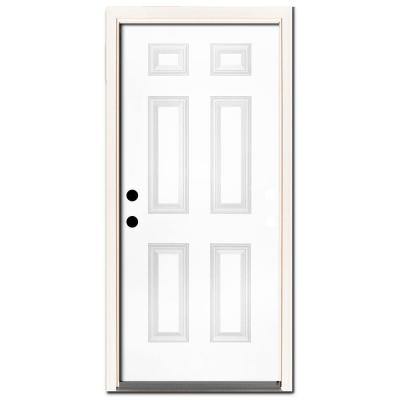 30 in. x 80 in. Premium 6-Panel Primed White Steel Prehung Front Door Right-Hand Inswing and 4 in. Wall