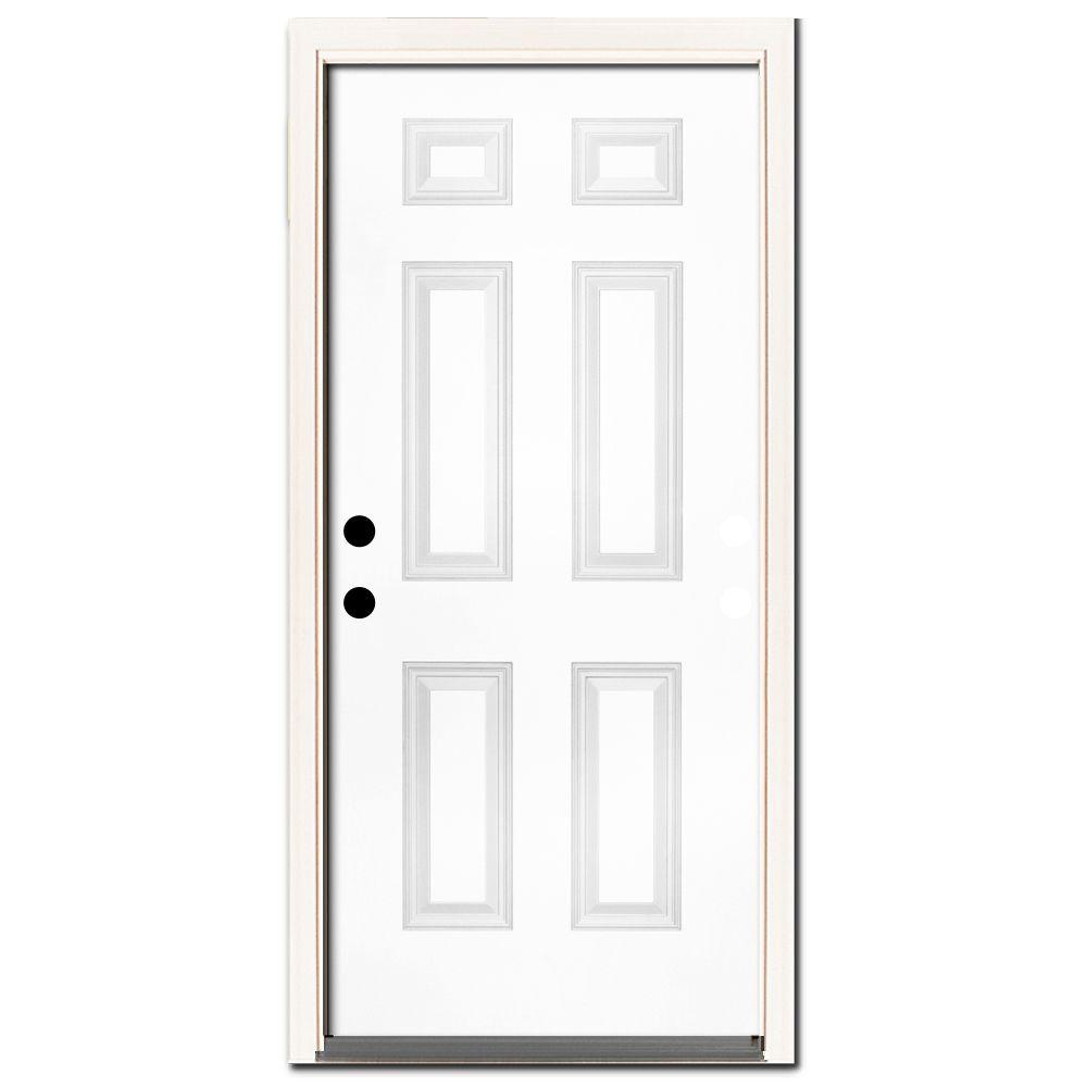 Steves & Sons 32 in. x 80 in. Premium 6-Panel Primed White Steel Prehung Front Door with 32 in. Right-Hand Inswing and 4 in. Wall