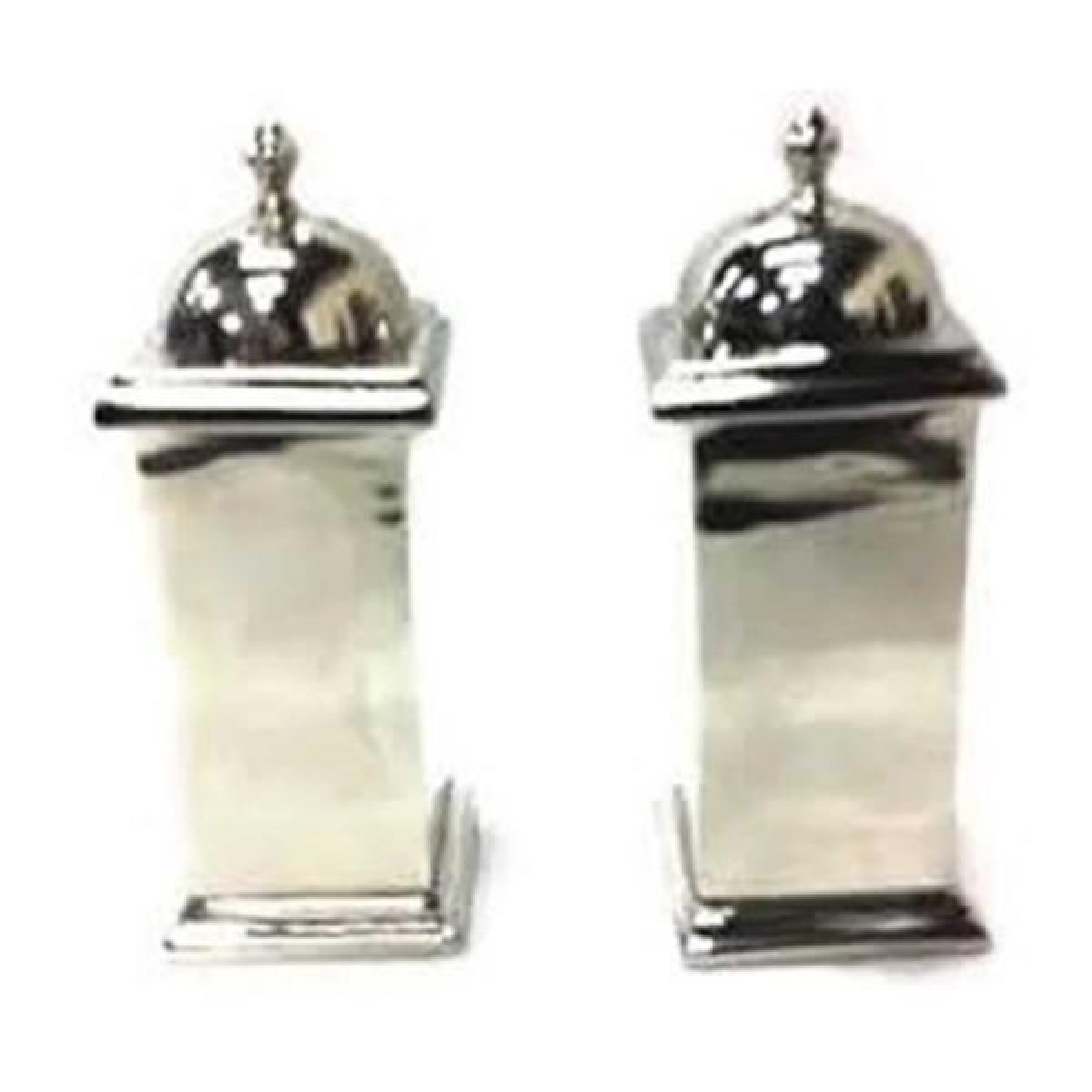 Heim Concept Nickel Plated Salt and Pepper Squared Design Shaker Set