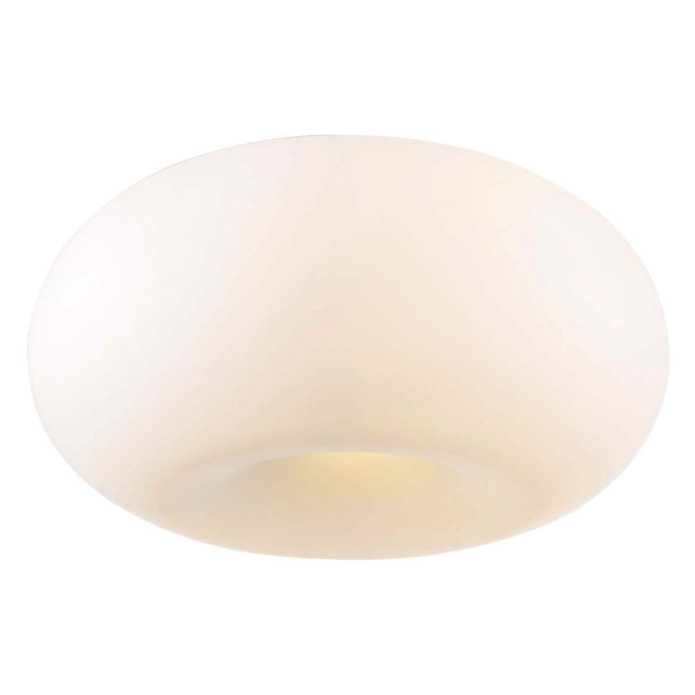 PLC Lighting 4-Light Ceiling Satin Nickel Flush Mount with Matte Opal Glass
