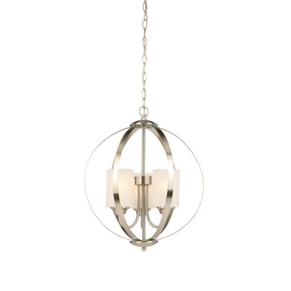 3-Light Brushed Nickel Chandelier with Etched White Glass Shades