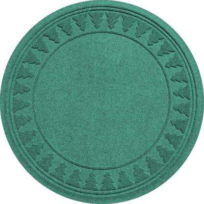 Aquamarine 35 in. Round Pine Trees Under the Tree Mat
