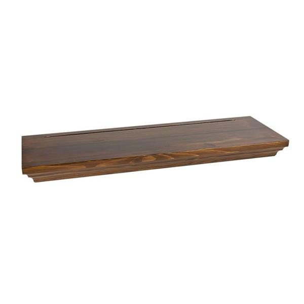 8 in. x 1-3/4 in. Floating Pecan Wood Shelf (Price Varies By Finish/Length)
