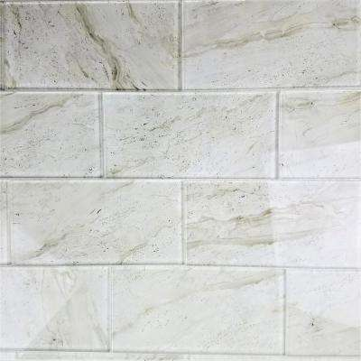 "Subway 4"" x 8"" Crema Marfil Glossy Stone Look Glass Peel & Stick Decorative Bathroom Wall Tile Backsplash (10 Pc/Pack)"
