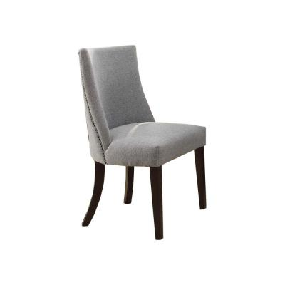 Gray and Brown Fabric Upholstered Wooden Accent Side Chair (Set of 2)