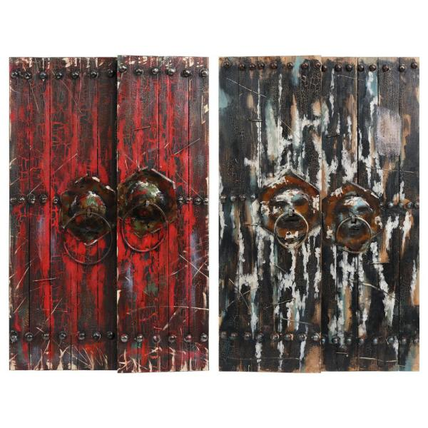 Empire Art Direct Antique Wooden Doors Metallic Handed Painted Rugged Wooden Wall Art Set Of 2 Pmo 130322 23 4730 The Home Depot