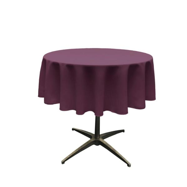 58 in. Round Eggplant Polyester Poplin Tablecloth