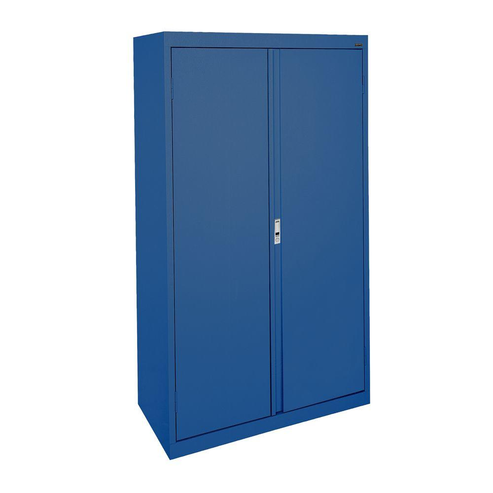 Sandusky System Series 36 in. W x 64 in. H x 18 in. D Double Door Storage Cabinet with Adjustable Shelves in Blue