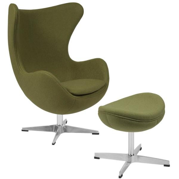 Green Fabric Chair and Ottoman Set