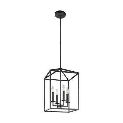 Perryton 12.25 in. W. 4-Light Textured Blacksmith Hall-Foyer Lantern Pendant with Dimmable Candelabra LED Bulb