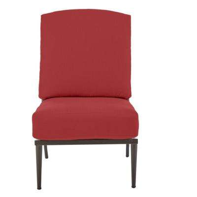 Oak Cliff Brown Steel Outdoor Patio Armless Lounge Chair with CushionGuard Chili Red Cushions