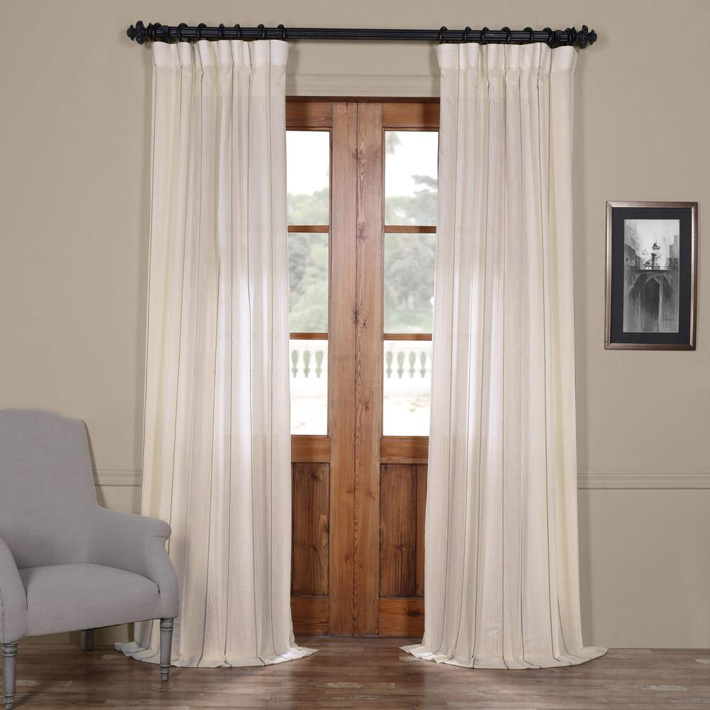 Exclusive Fabrics Furnishings Aruba Striped Linen Sheer Curtain In