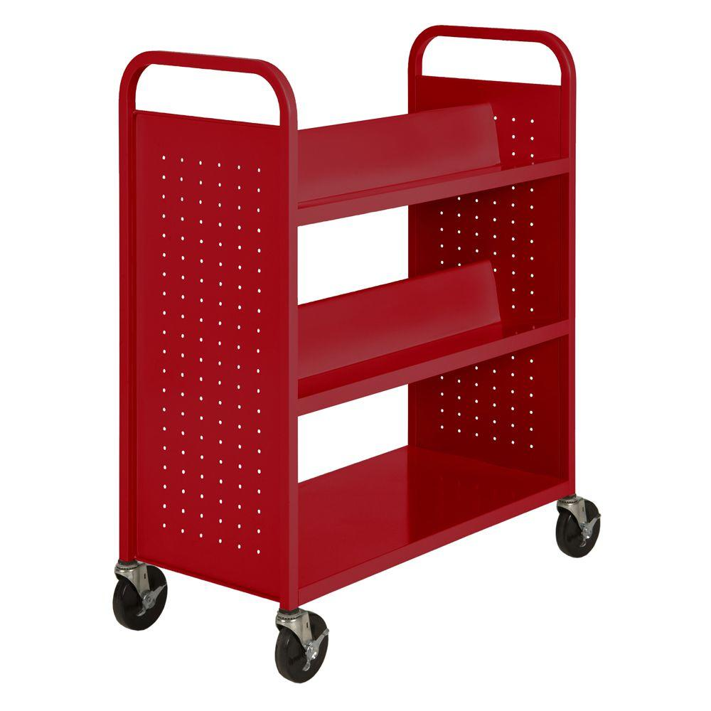 Sandusky Fire Engine Red Mobile Steel Bookcase