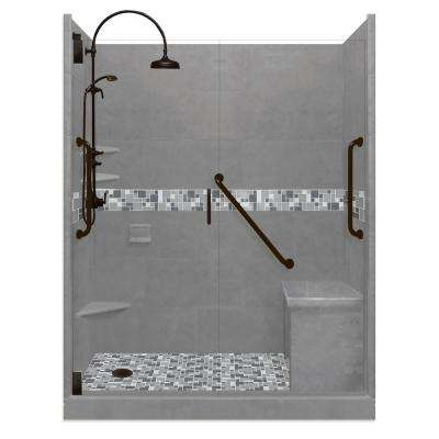 Newport Freedom Luxe Hinged 32 in. x 60 in. Left Drain Alcove Shower in Wet Cement and Black Pipe Faucet/Hardware
