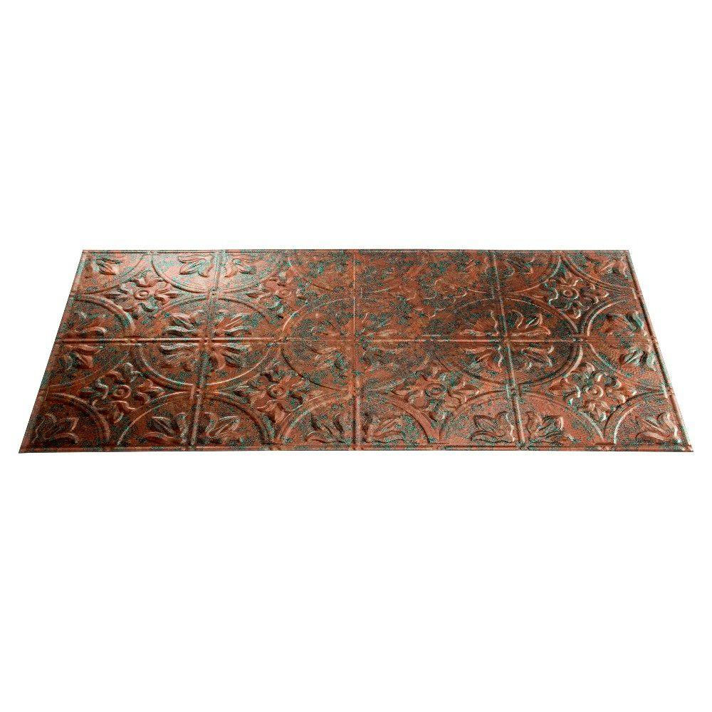 Fasade Traditional 5 2 ft. x 4 ft. Copper Fantasy Lay-in Ceiling Tile