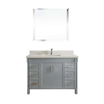 Serrano 48 in. W x 22 in. D Vanity in Oxford Gray with Quartz Vanity Top in White with White Basin