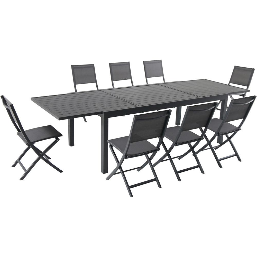 Hanover Naples 9 Piece Aluminum Outdoor Dining Set With 8