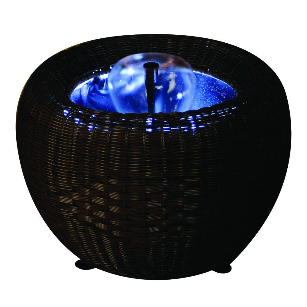 23 in. Mocha Wicker Patio Pond Urn with White LED Light