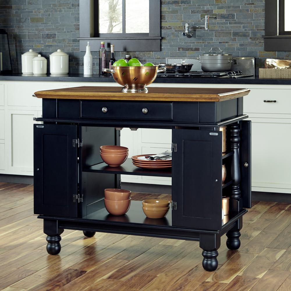 Internet #300912725. +2. Home Styles Americana Black Kitchen Island ...