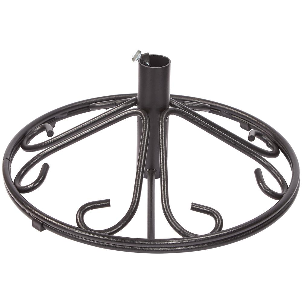 hampton bay Hampton Bay Nantucket Patio Umbrella Base in Black, Charcoal Powder Coated