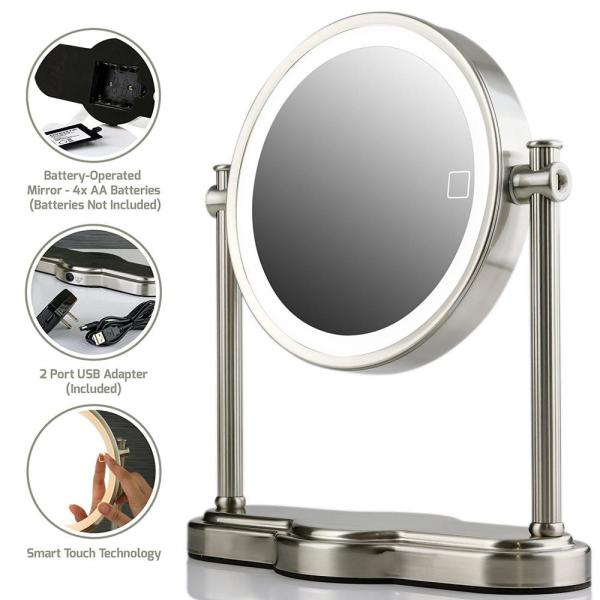 Small Nickel Brushed Metal Tilting Lighted Glam Mirror (13 in. H X 6.0 in. W)