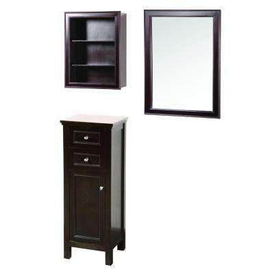 Gazette 42 in. L x 16 in. W Wall Mirror and Wall Cabinet with Shelves and Floor Cabinet in Espresso
