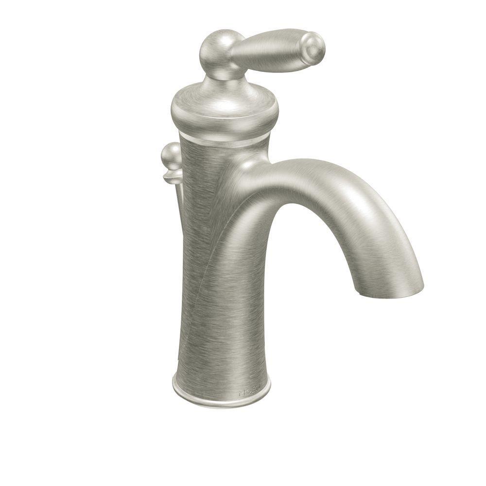 Fabulous Moen Brantford Single Hole Single Handle Low Arc Bathroom Faucet In Brushed Nickel Download Free Architecture Designs Scobabritishbridgeorg