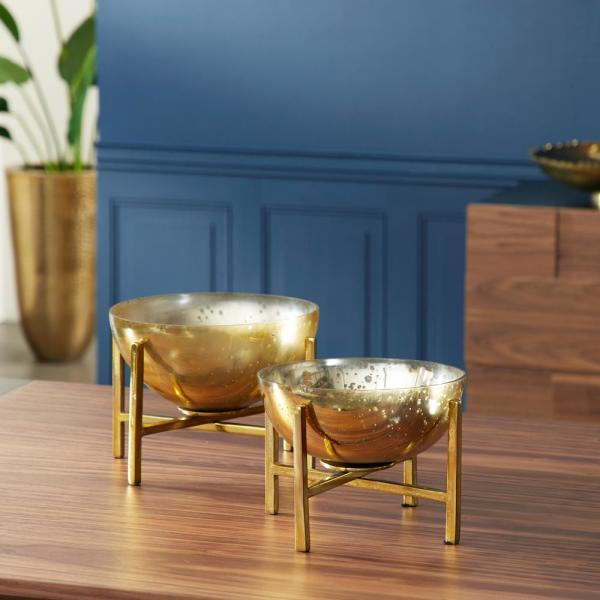 10 in., 11 in. Round Gold Mercury Glass Bowls on Gold Metal Stands (Set of 2)