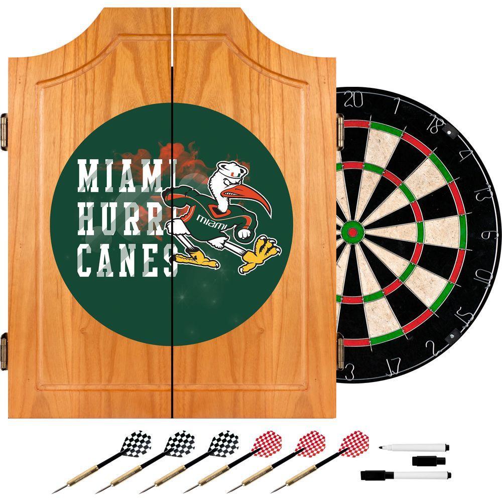 University of Miami Smoke 20.5 in. Wood Dart Cabinet Set